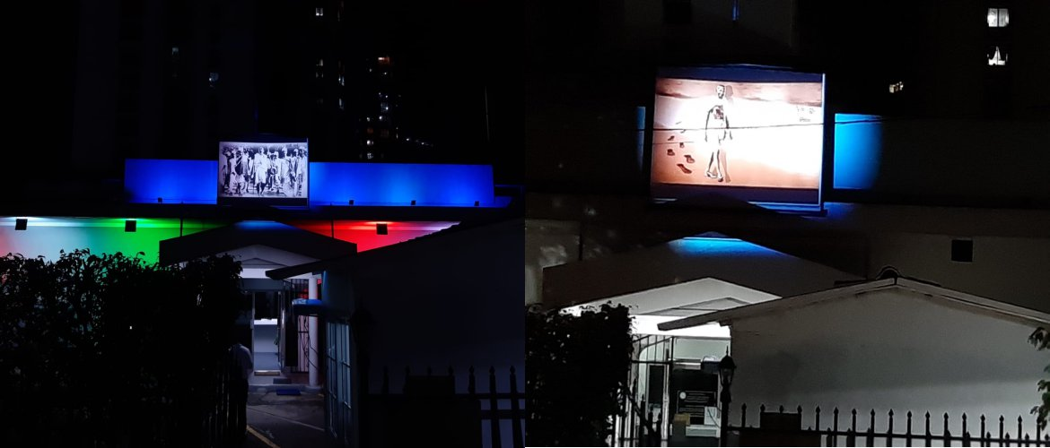 Important events in the life of Mahatma Gandhi being projected on the big screen on the Embassy Premises to mark the occasion of Gandhi Jayanti