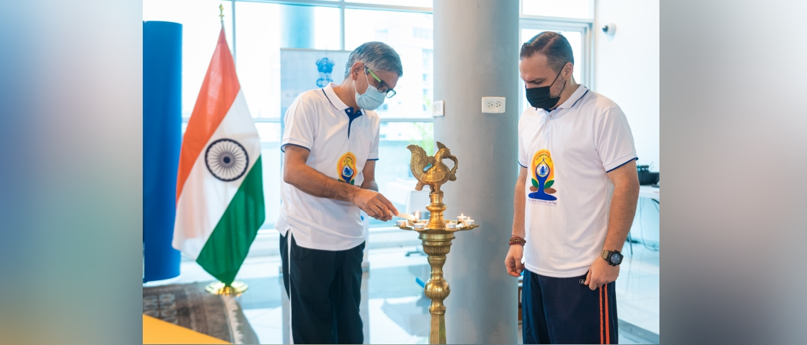 Lighting of lamp by Ambassador of India to Panama, Costa Rica and Nicaragua, H.E. Upender Singh Rawat during the celebration of International Day of Yoga on June 21, 2021 at Panama